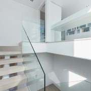 A glass balustrade leads you up to the architecture, daylighting, floor, glass, handrail, house, interior design, product design, property, real estate, stairs, gray