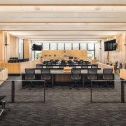 The High Court at the Christchurch Justice & auditorium, ceiling, conference hall, flooring, furniture, interior design, lobby, table, white, black