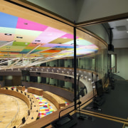 This new headquarters for the European Union Council ceiling, interior design, leisure centre, structure, black