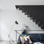 Andy Martin Architecture – Renovation in London angle, architecture, ceiling, daylighting, floor, handrail, interior design, loft, product design, stairs, wall, white, black