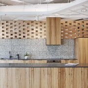 The cafe in the ADCO Constructions fit-out by architecture, cabinetry, countertop, floor, flooring, interior design, kitchen, plywood, tile, wall, wood, gray