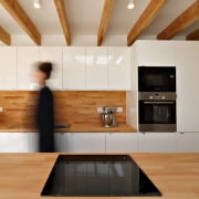 Moving the element to the island makes cooking architecture, cabinetry, ceiling, countertop, floor, flooring, hardwood, interior design, kitchen, living room, room, wall, wood, wood flooring, gray, brown