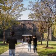 Barrel house architecture, campus, park, pavilion, plant, public space, recreation, tree, brown