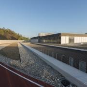 569 firestation architecture, asphalt, house, infrastructure, line, real estate, road, roof, sky, black, teal