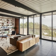 The main living areas feature panoramic views architecture, ceiling, daylighting, house, interior design, living room, real estate, window, gray