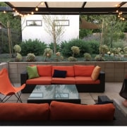 Ample room for entertaining outside backyard, couch, furniture, home, interior design, living room, patio, table, black