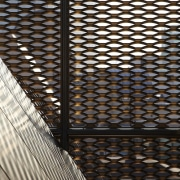 The 925 Building architecture, building, daylighting, line, material, mesh, metal, pattern, symmetry, wall, wood, black