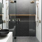 Caro Design bathroom, floor, flooring, plumbing fixture, shower, tap, tile, wall, gray, white, black
