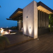 The architect paid special attention to lighting here architecture, building, estate, facade, home, house, landscape lighting, lighting, property, real estate, roof, sky, villa, black