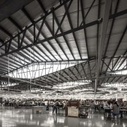 Light & Span – 1:1 airport terminal, architecture, building, daylighting, factory, hangar, steel, structure, black, gray