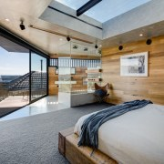 This master bedroom features ample glass, allowing natural architecture, bedroom, ceiling, house, interior design, real estate, wood, gray