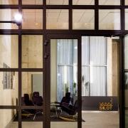 The Tervahovi Silos / PAVE Architects door, glass, interior design, lobby, window, black, gray