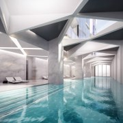 This communal pool is certainly large, running along apartment, architecture, ceiling, daylighting, estate, floor, interior design, leisure centre, lobby, property, real estate, swimming pool, gray, white