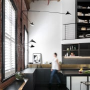 High ceilings help to open up the entire architecture, furniture, house, interior design, loft, table, white, black
