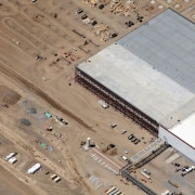 Construction proceeds one of the blocks aerial photography, bird's eye view, line, photography, brown, gray