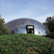 Forestry Branch – Marche-en-Famenne architecture, biome, building, dome, facade, grass, house, sky, structure, teal