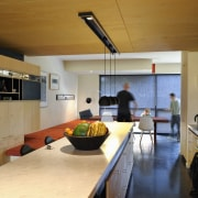 The interiors are spacious, with plenty of room countertop, house, interior design, kitchen, room, brown