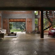 Architect: Studio PKA http://www.purankumar.com/Photographer: Amit Pasricha floor, flooring, house, interior design, living room, lobby, black, gray