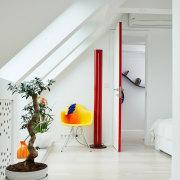 The interior decoration makes this apartment ceiling, floor, flooring, home, interior design, loft, product design, gray, white