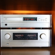 The architect spared no expense audio, audio equipment, audio receiver, cassette deck, electronic device, electronics, musical instrument accessory, radio, stereophonic sound, technology, red, brown