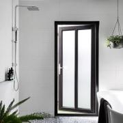 This wet bathroom has direct outdoor access door, interior design, window, gray, white