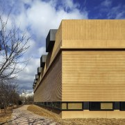 Natural wood rings the structure architecture, building, corporate headquarters, facade, home, house, residential area, sky, wood, orange