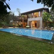 Architect: Studio PKA http://www.purankumar.com/Photographer: Amit Pasricha architecture, backyard, cottage, estate, facade, hacienda, home, house, leisure, mansion, property, real estate, residential area, resort, swimming pool, villa, brown