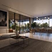 Treehouse at Parkside Walk – MJA Studio apartment, architecture, condominium, estate, home, house, interior design, living room, penthouse apartment, property, real estate, window, black, gray