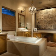 The bathroom features a large bath, window and bathroom, countertop, estate, home, interior design, real estate, room, window, brown