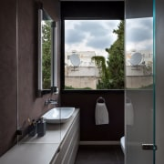 An expansive window means a bathroom that feels architecture, bathroom, home, house, interior design, room, sink, window, black, gray
