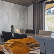 Concrete walls and wood ceilings architecture, house, interior design, property, real estate, gray