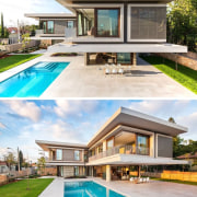 Next to the gazebo there's a large patio elevation, estate, facade, home, house, leisure, mansion, property, real estate, residential area, swimming pool, villa, white