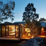 Life on MAARS architecture, cottage, estate, home, house, landscape, lighting, property, real estate, shed, sky, black, teal