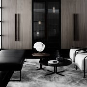 Views out to South Yarra below angle, black and white, chair, coffee table, couch, floor, flooring, furniture, interior design, living room, product design, room, table, black, gray
