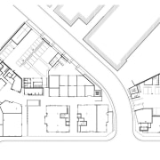 A site plan of office, retail and hospitality angle, architecture, area, artwork, black and white, design, diagram, drawing, font, home, house, line, line art, plan, structure, text, white