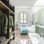 It's easy to get ready in the morning, bathroom, interior design, room, white