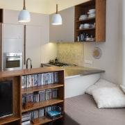 TIDA NZ 2017 – Designer kitchen entrant – furniture, home, interior design, living room, room, shelf, shelving, gray