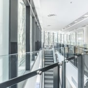 Newcastle Courthouse – Cox Architecture architecture, building, daylighting, glass, handrail, interior design, lobby, real estate, structure, white, gray