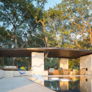 The pavilion is the structure to accompany the architecture, estate, home, house, outdoor structure, property, real estate, tree, gray, brown