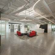 Curved architectural insertions in the Z Energy office ceiling, floor, interior design, lobby, office, gray