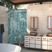 Part of the mosaic charm is its versatility bathroom, floor, flooring, home, interior design, room, tile, wall, white, gray