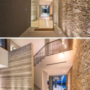 The entrance hall runs right throughout the home, apartment, architecture, ceiling, daylighting, estate, floor, flooring, home, house, interior design, lobby, loft, property, real estate, wall, orange, brown
