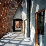 Forestry Branch – Marche-en-Famenne arch, architecture, building, facade, structure, window, gray