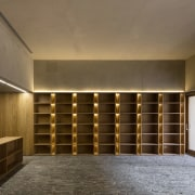 Subtle lighting lines this space architecture, ceiling, furniture, interior design, lighting, lobby, wall, brown