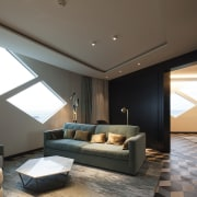 A view of one of the rooms with architecture, ceiling, daylighting, floor, interior design, living room, room, window, black, gray