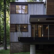 A raised deck is essential during winter architecture, building, cottage, facade, home, house, real estate, siding, black