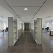 569 firestation ceiling, floor, flooring, interior design, lobby, office, gray
