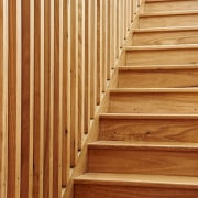 Timber is the star of the show with floor, flooring, garapa, handrail, hardwood, laminate flooring, line, lumber, plywood, stairs, wall, wood, wood flooring, wood stain, brown, orange