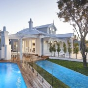 See the home here estate, facade, home, house, mansion, property, real estate, residential area, swimming pool, villa, white