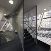This new headquarters for the European Union Council architecture, daylighting, glass, handrail, interior design, stairs, structure, gray, black